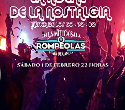 EN ROMPEOLAS (Playa de Gandia) «La Noche de la Nostalgia»